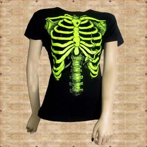 Green Skeleton Ladies T Shirt